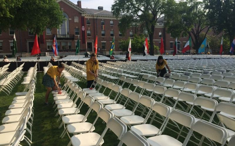 Getting ready to seat seniors at Commencement