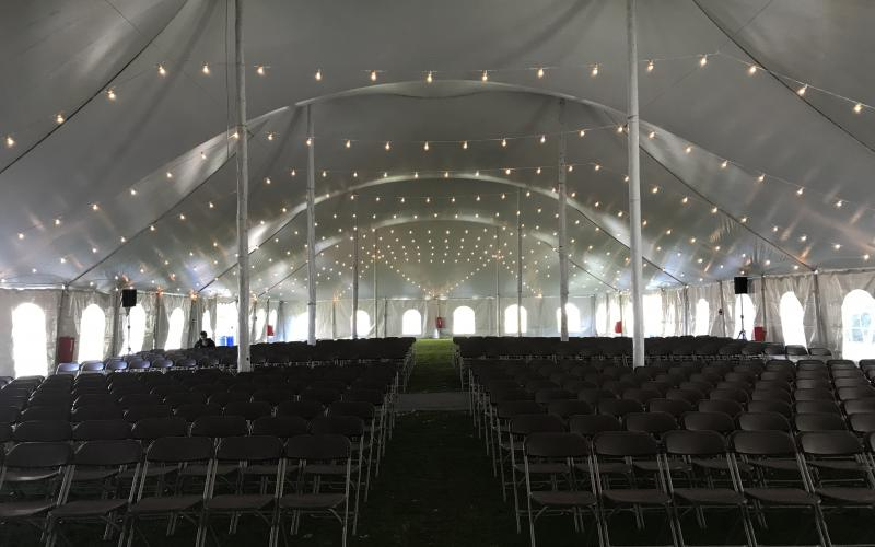 Green space tent with lights