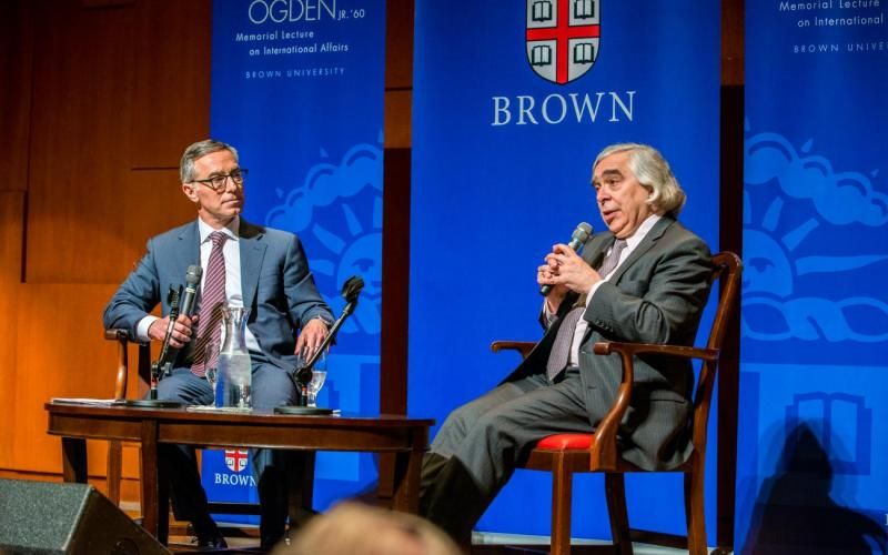 An onstage discussion between Dr. Ernest Moniz and Provost Rick Locke