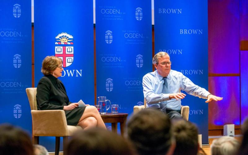 Jeb Bush and President Paxson onstage discussion
