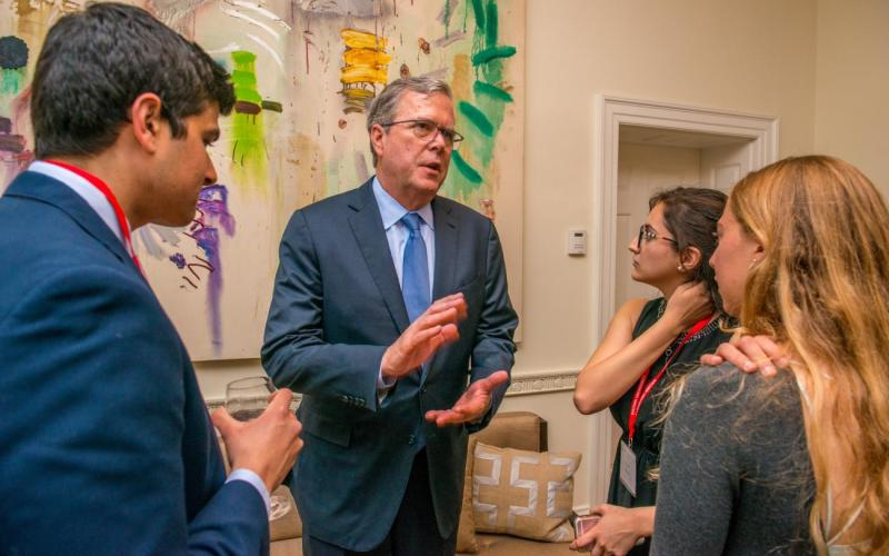 Jeb Bush talking with Brown students
