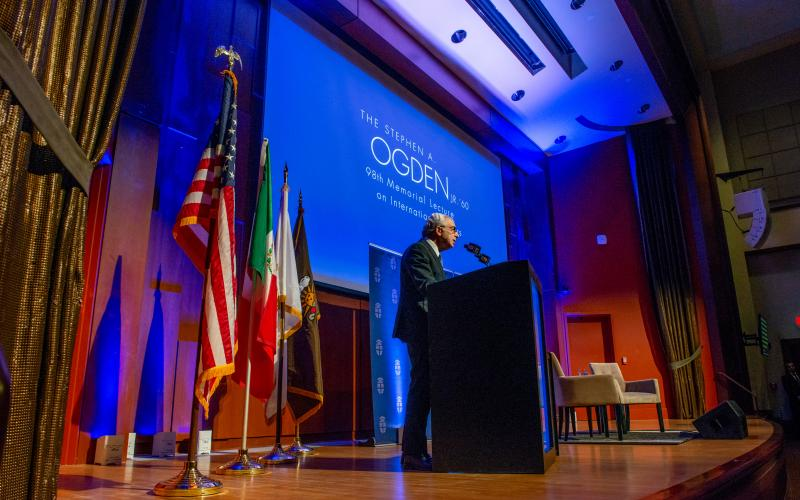 Former Mexican President Ernesto Zedillo speaks at Brown