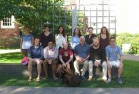 Brown Speech Lab - September 2014: Back (L-R): Alana Whitman, Megan Reilly, Carolina Santiago, Kathleen Kurowski, Natalya Machado; Middle (L-R): Neal Fox, Sahil Luthra, Sheila Blumstein, John Mertus, Michael Petro, Andrew Li; Front: Maddy the Brown Lab