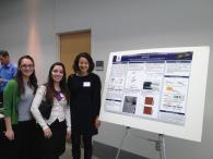 Kathleen, Ruth, and Kohana presenting their poster on FUS protein aggregation