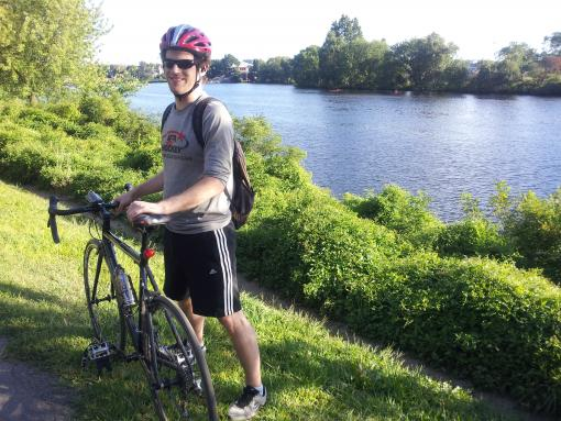 Alex Loosley: Biking next to the Charles River, Boston