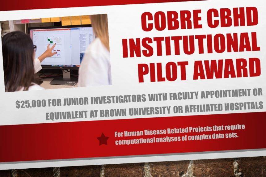 COBRE CBHD Institutional Pilot Award $25,000 for Junior Investigators with faculty appointment or equivalent at Brown University or affiliated hospitals for human disease related projects that require computational analyses of complex data sets.