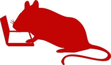 Silhouette of a mouse working at a laptop computer