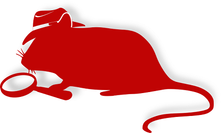 Silhouette of a mouse wearing a fedora holding a magnifying glass