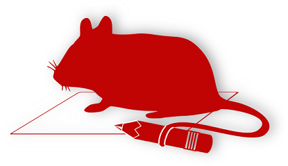 Silhouette of a mouse holding a pencil