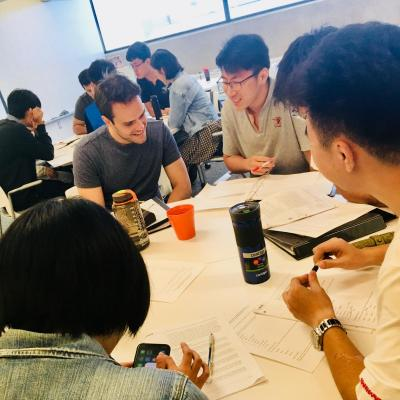 2018 English Language Program participants working in groups